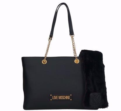 Love Moschino shopping bag Furry Scarf black